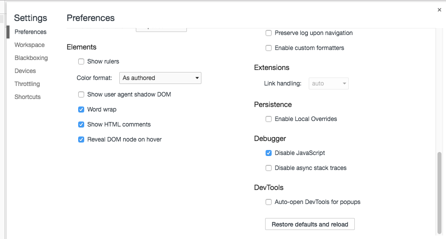 Chrome Dev Tools settings screen